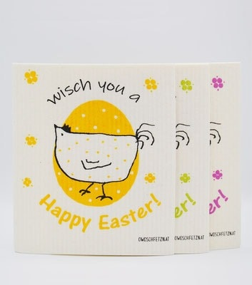 "3er-Set: Owoschfetzn ""Henne Berta – Wisch you a Happy Easter!"""